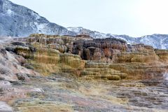Multicolored limestone deposits in Mammoth Hot Springs in Yellowstone park.  stock photo