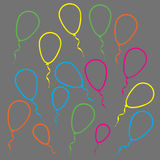 Multicolored linear balloons Royalty Free Stock Image