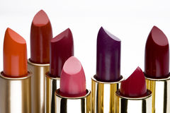 Multicolored lipsticks. Close-up view to multicolored lipsticks Royalty Free Stock Image