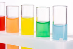 Multicolored liquid chemical tubes Royalty Free Stock Image