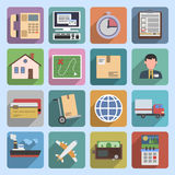 Multicolored logistic icons flat royalty free illustration