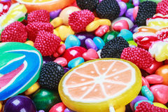 Multicolored lollipops, candy and chewing gum stock photography