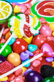 Multicolored lollipops, candy and chewing gum stock photo