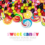 Multicolored lollipops, candy and chewing gum. On a white background. text removed royalty free stock photos