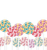 Multicolored lollipops on white Royalty Free Stock Photo