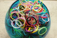 Multicolored loom bands in a vase Royalty Free Stock Photo