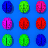Multicolored low polygon brains. Original low poly brain illustration pattern Royalty Free Stock Images