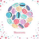 Multicolored macaroon concept. Multicolored macaroon-cookies in circle shape on white background. Vector illustration  for web, mobile and print Royalty Free Stock Photo