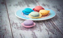 Multicolored macaroon cookies Stock Photography