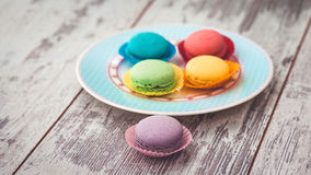 Multicolored macaroon cookies Stock Image