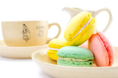 Multicolored macaroons in a saucer Stock Photography