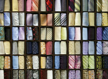 Multicolored male neck ties Royalty Free Stock Images