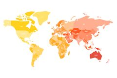 Multicolored map of World. Simplified political map with national borders ande name labels of countires. Colorful vector. Illustration in warm colors royalty free illustration