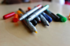 Multicolored marker pens stock photography