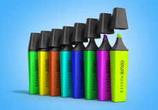 Multicolored markers 3d render  on a gradient background Stock Photography