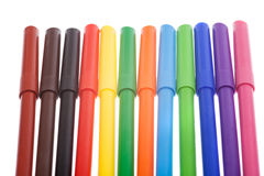 Multicolored markers isolated on white Royalty Free Stock Photos