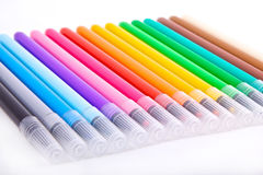 Multicolored markers on white Stock Image