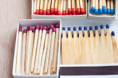 Multicolored matches in boxes Royalty Free Stock Photo