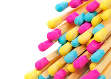 Multicolored Matches on White Background Royalty Free Stock Images