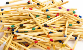 Multicolored matches on white background Stock Photo