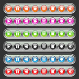 Multicolored media  buttons. Set of multicolored media player buttons.vector illustration Stock Image