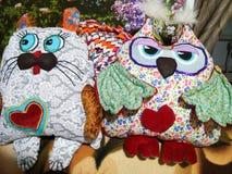 Multicolored met de hand gemaakt speelgoed Stock Afbeelding