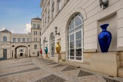 Multicolored mirrored vases decoration in front of the houses square to the Judicial City of Luxembourg. Luxembourg, Luxembourg- January 10, 2019:Multicolored stock photography