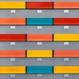 Multicolored modern mailboxes with numbers stock image
