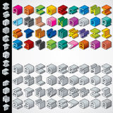 Multicolored and Monochrome Isometric 3D Font Stock Photography