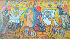 Multicolored mosaic of the city of Kiev founders on the building Royalty Free Stock Images