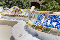 Multicolored mosaic in Park Guel,Barcelona,Spain Stock Photo