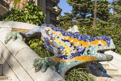 Multicolored mosaic salamander, popularly known as El Drac the dragon at Park Guell stock image