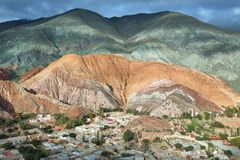 Multicolored mountains known as Cerro de los 7 colores Royalty Free Stock Images