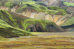 Multicolored mountains at Landmannalaugar, Royalty Free Stock Image