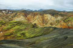 Multicolored mountains at Landmannalaugar, Royalty Free Stock Photos