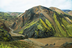 Multicolored mountains at Landmannalaugar, Royalty Free Stock Photography