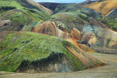 Multicolored mountains at Landmannalaugar, Royalty Free Stock Photo