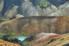 Multicolored mountains at Landmannalaugar, Royalty Free Stock Photos