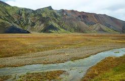 Multicolored mountains at Landmannalaugar Stock Photos