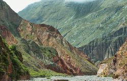 Multicolored mountains near Iruya, Argentina Royalty Free Stock Images