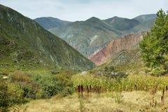 Multicolored mountains near Iruya, Argentina Stock Photo