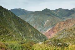 Multicolored mountains near Iruya, Argentina Stock Image
