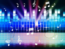 Multicolored Music Background Shows Playing Tune Or Metal stock illustration