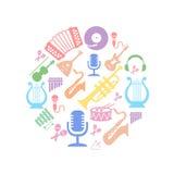 Multicolored music instruments  silhouette in. Multicolored music instruments silhouette in  circle shape. Vector illusrtation Stock Photos