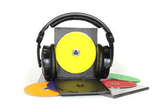 Multicolored musical CD disks on white background Royalty Free Stock Photography