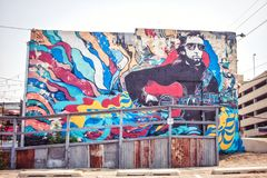 Music mural Tulsa Oklahoma royalty free stock photos