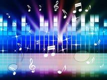 Multicolored Muziekachtergrond toont het Spelen of Metaal stemt Stock Fotografie