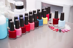 Multicolored nail polish Stock Photo