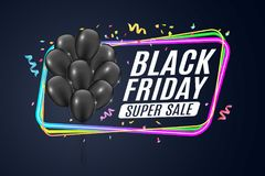 Multicolored neon banner for black Friday sale. Bunch of black realistic shiny balloons. Color frame on a dark blue background. Fe. Stive confetti and ribbons Royalty Free Stock Images