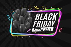 Multicolored neon banner for black Friday sale. Bunch of black realistic shiny balloons. Color frame on a dark background. Festive. Confetti and ribbons. White Stock Photography